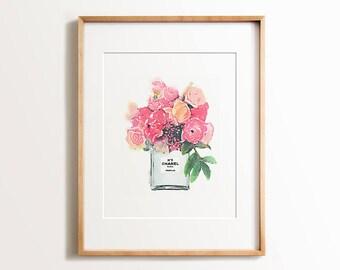 Chanel print, PRINTABLE art, Glam decor, Glam prints, Fashion print, Pastel art, Trendy wall art, Wall prints, Watercolor prints, Number 5