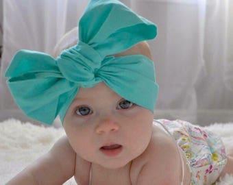 TURQUOISE Headwraps, Head Wraps, Baby Head Wraps, Fabric head wrap, Blue Head Wrap, Baby Girl Head Wraps, Newborn Headwrap