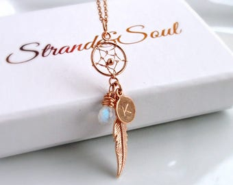 Personalised Dream Catcher Necklace In Rose Gold On Rose Gold Cable Chain - Gift For Her