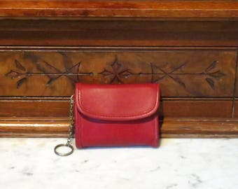 Coach Multi Function Purse Wallet With Key FOB In Red Leather No 7219- VGC