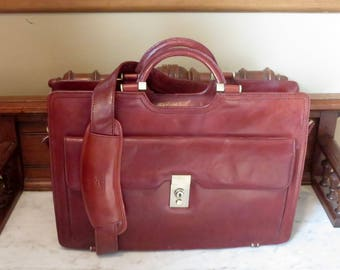 Spring Sale Mancini Briefcase Attache In Striking Cognac Leather With Bronze Tone Hardware And Detachable Strap- EUC