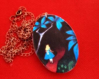 #handmade necklace with wooden pendant #aliceinwonderland