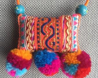Necklace/textile pendant, spirit Bohemia, talisman, lively colors, hand-made jewel.