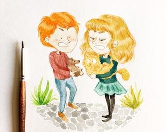 Original illustration - Ron & Hermione