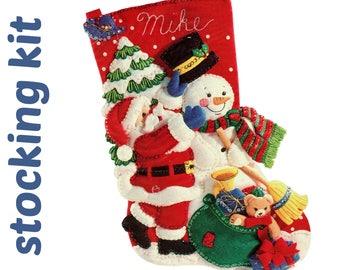 Vintage BUCILLA Stocking Kit Bucilla Christmas Stocking Santa Claus Stocking Frosty The Snowman Felt Xmas Stocking Christmas Craft Kit