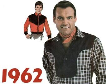 Mens Western Shirt Cowboy Shirt Pattern ADVANCE 3135 UNCUT size 42 Vintage Western Wear Rockabilly Shirt Mens Vintage Shirt Hipster Shirt