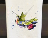 hummingbird towel, tea towels, flour sack towels, mothers day gifts, gifts for her, gifts under 20, watercolor birds, bird art, Oxford MS
