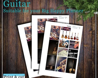 Guitar, Print & cut, SVG, FCM, ScanNCut, Silhouette, Cricut, Big Happy planner