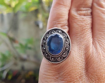 925 Bali Silver Woman Ring with Blue Aquamarine stone