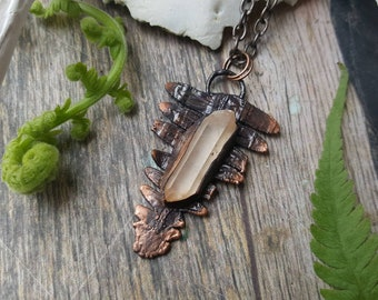 Fern crystal necklace - electroformed quartz pendant copper chain pressed flowers real plant botanical jewelry