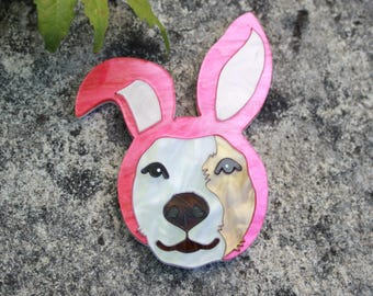 Ohlin the Dress Up Dog acrylic Brooch - handmade laser cut plastic pin