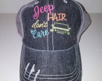 Jeep Hair Don't Care-  Gray Distressed Trucker Hat