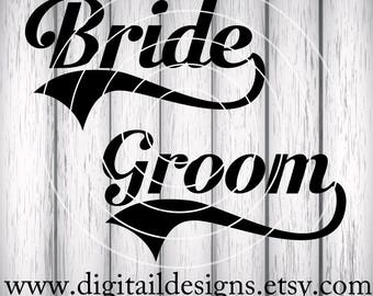 Bride - Groom SVG - dxf - png - eps - ai - fcm - Instant Download - Commercial Use - Cricut - Silhouette - Wedding SVG