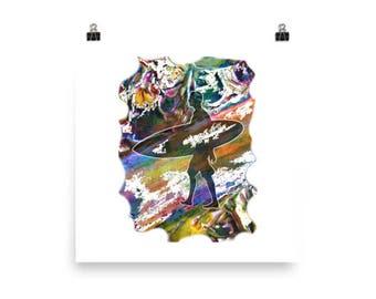 Colourful Surfer Silhouette Art Print
