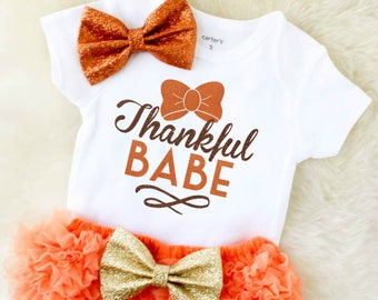 baby's first thanksgiving outfit - baby girl thanksgiving outfit - toddler girl thanksgiving outfit - girl thanksgiving outfit - thankful ba