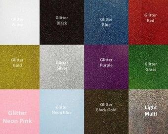 """Siser 10"""" x 12"""" Glitter Heat Transfer Vinyl for T-shirts - 12 Colors"""