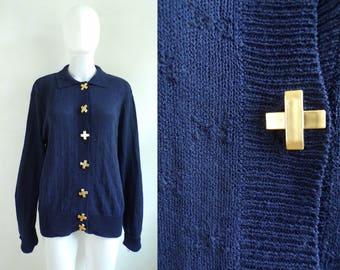 80s nautical cardigan sweater navy blue X button down cardigan acrylic & nylon minimalist sweater womens jumper large