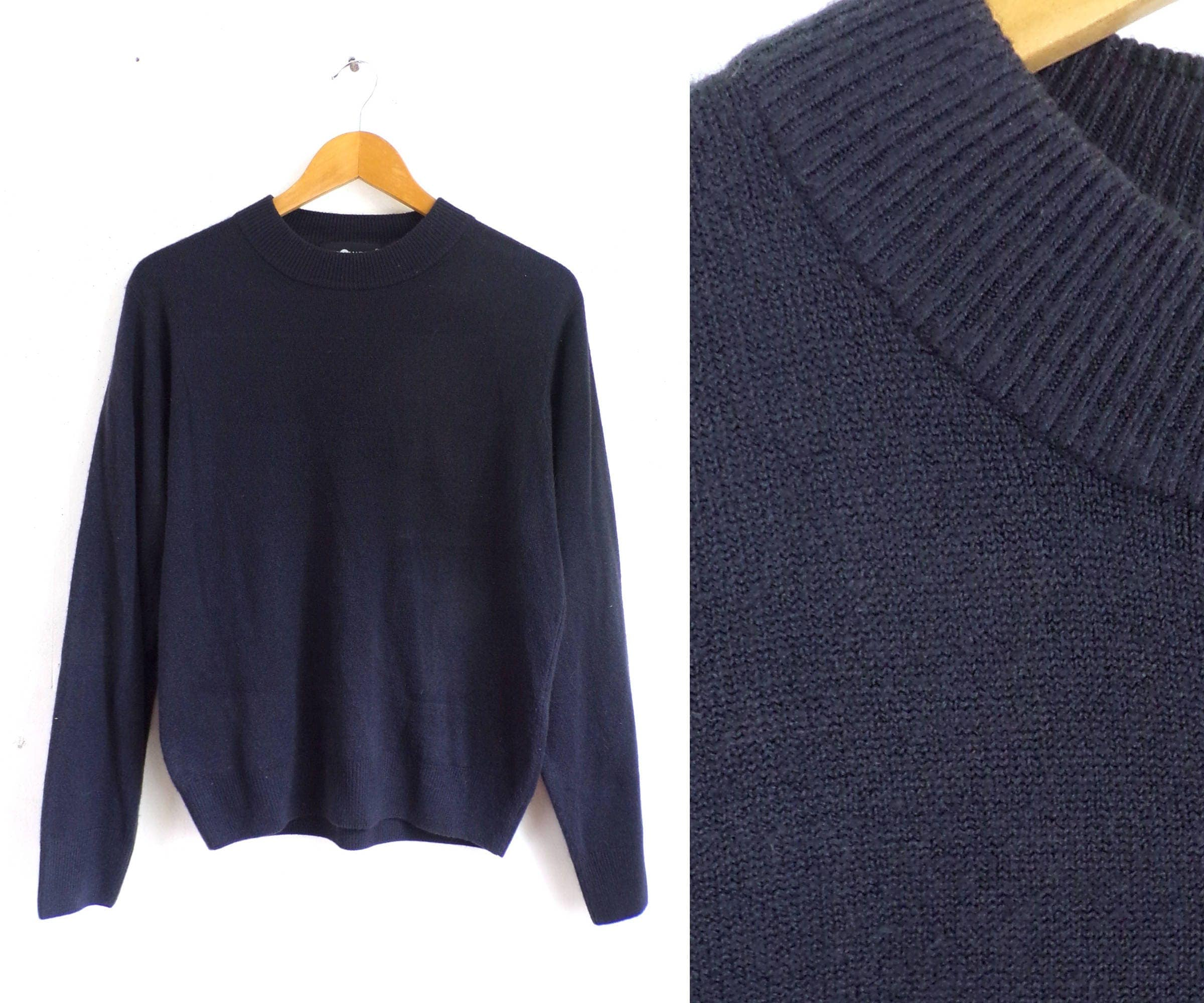 90s knit top dark midnight blue sweater top lightweight knit