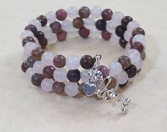 Rhodonite & Rose Quartz Triple Bracelet