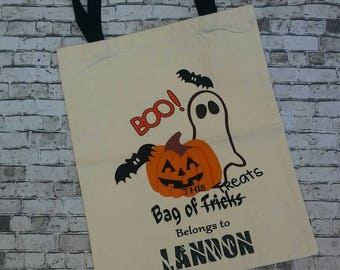 Halloween tote, Trick or treat bag, personalized Halloween tote, personalized tote, trick or treat tote, Halloween bag, canvas Halloween bag