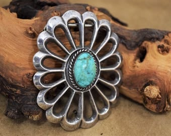 Navajo Sterling Silver Concho Belt Buckle