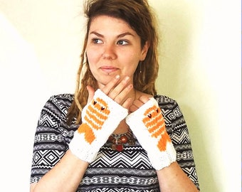 Sushi mittens. Hand knitted white and orange fingerless gloves/mittens