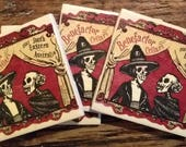 Skeleton Day of the Dead Inspired Handcrafted Wine Label Coasters - Set of 4