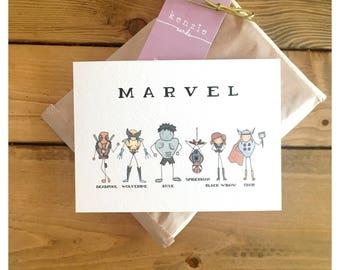 MARVEL PRINT // 5x7 or 8x10, superhero print, marvel, the avengers, spiderman, wolverine, deadpool, the hulk, thor, spiderman print, comics