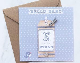 Hello Baby Card, Baby Initial Card, Congratulations Baby Card, New Baby Card, Personalised Baby Card, Boy Baby Card, Baby Girl Card