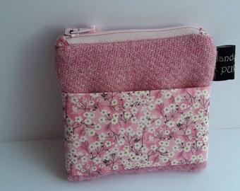 Harris Tweed Pink Pocket Coin Purse with Liberty of London Mitsi Valeria Print Fabric