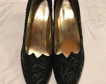 Vintage 1980's Black Zebra Pumps / size 8 narrow / by Timothy Hitsman Footwear