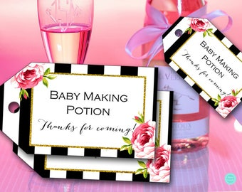Baby Making Potion, Baby Making Potion Tags, Baby Shower Wine Favors, baby shower gift tag, baby shower favors, baby shower decoration TLC04