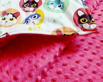 Handmade Minky Blanket /// 38 x 63,2 inch /// soft for baby / best quality / kitty / cotton / plush / stroller / gift / bedding / travel