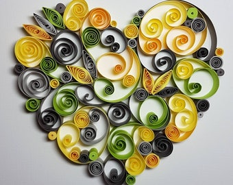 Paper Quilled Heart - 8x10
