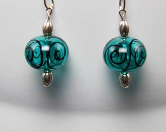 Lampwork teal blue hollow earrings-A374