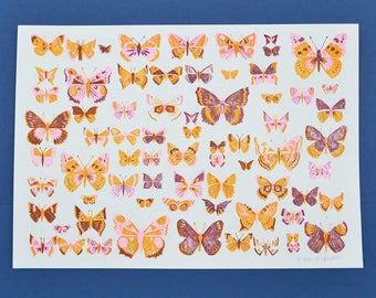 Butterfly Riso Print - risograph, moth, butterfly