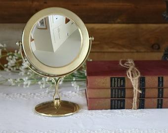 Golden vanity mirror - Vintage mirror - Round table mirror - Make up magnifying mirror - Two sides mirror
