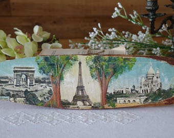 Vintage hand painted scenes of Paris on slice of wood - Arc de Triomphe - Tour Eiffel - Sacré Coeur - Folk art - Rustic decor