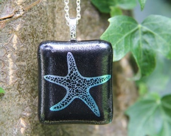 Starfish dichroic pendant , enamel and dichroic glass necklace,  fused glass necklace, fused glass pendant, silver dichroic, starfish glass