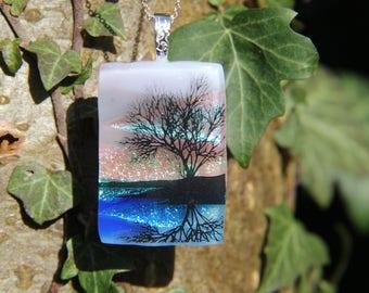Dawn lake dichroic pendant  ,dichroic glass necklace,  fused glass necklace, fused glass pendant, multi-coloured dichroic, gift
