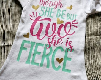 Girls second birthday shirt, 2nd birthday shirt, second birthday shirt, toddler birthday shirt, toddler girl birthday shirt, fierce birthday