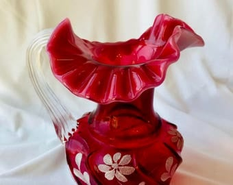 Vintage COUNTRY CRANBERRY FENTON art glass pitcher Signed by artist Valentine Gift!