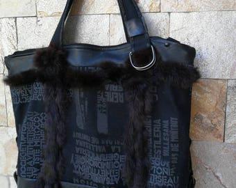 Black Canvas and Leather Tote Bag - Soft Leather Bag - Shoulder Bag - Every Day Bag - Sac Bag - Women Bag - Office Bag - Charley Bag