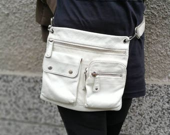 Fossil Bag, Waist Pack, Hip Bag Leather, belt Bag, Leather Belt Bag, Leather Waist Bag, Leather Pouch, Leather Pouch Bag, white bag