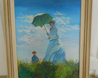 """Oil painting of lady with umbrella & child in meadow--unsigned--15 1/2"""" x 19 1/2"""""""