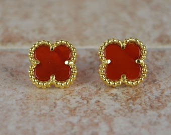 Four Leaf Clover Earrings, Gold Clover Studs, Lucky Shamrock Earrings, Clover Jewelry, Four Leaf Clover Earrings, Best Friend Birthday Gift