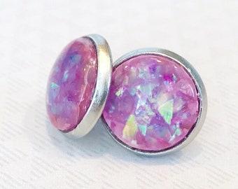 purple opal earrings, opalescent earrings, stainless steel earrings studs, faux opal jewelry, jewelry handmade, 12mm stud earrings
