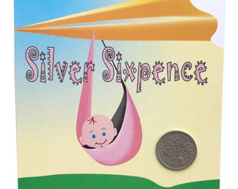 NEW BABY Lucky Silver Sixpence Gift Card Greetings, Free U.K. 1st Class Post