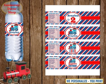 Train Water Bottle Labels Birthday Printable Choo Choo Party Printable Red Blue Personalized Train Water or Soda Bottle Labels WLT2