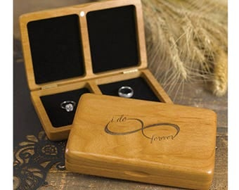 WEDDING RING box ring bearer box pillow page boy best man commitment ceremony timber wood I do forever infinity
